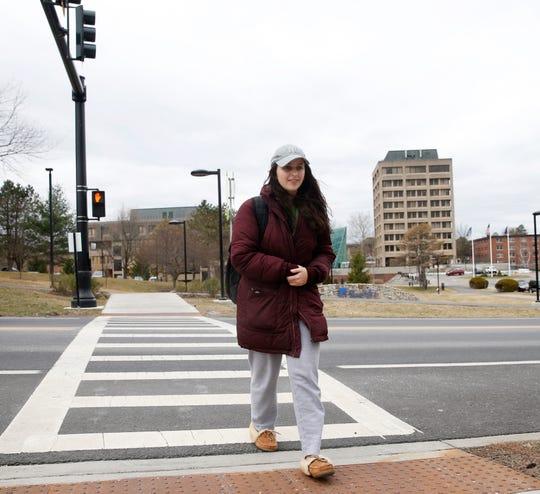 Alyssa Pfitscher of Hyde Park, in her senior year at SUNY New Paltz leaves campus on March 12, 2020.