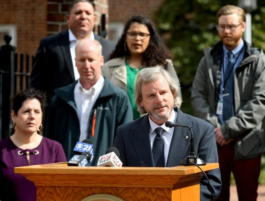 York City Mayor Michael Helfrich is surrounded by officials at a press conference announcing a declaration of disaster emergency due to the COVID-19 virus Thursday, March 12, 2020. He also announced that York's Saint Patrick's Day parade was cancelled due to the Coronavirus threat. Bill Kalina photo