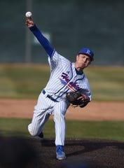 Reno senior Caedon Kottinger pitches against Fernley during the 2020 Mike Bearman Memorial Tournament at Reno High.