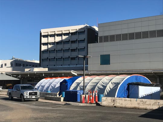 A triage tent is seen at Renown Regional Medical Center in Reno on March 12, 2020.