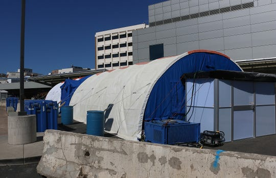 The triage tent is seen at the Renown Regional Medical Center in Reno on March 12, 2020.