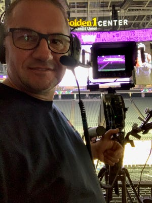 Redding resident and Sacramento Kings camera operator Jeff Bova takes a selfie during pregame in an undated photo.
