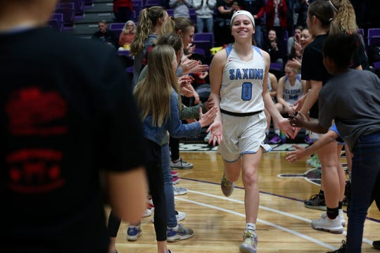 South's Ellyson Haytas, 0, runs onto the court before the start of their OSAA Class 6A basketball tournament against McMinnville at the Chiles Center on the University of Portland campus on March 11, 2020.