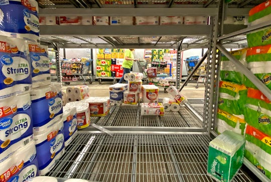 Supplies of cleaning products at Walmart stores in San Angelo, like the one on Sherwood Way seen in this Wednesday, March 11, 2020 photo, have been strained due to purchases in response to the coronavirus.
