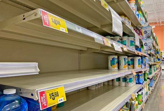Supplies of cleaning products and some other goods at H-E-B stores, like this one in San Angelo on Wednesday, have been strained due to purchases in response to the coronavirus.