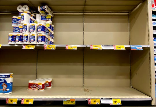 Supplies of cleaning products at H-E-B stores in San Angelo, like the one on Sherwood Way seen in this Wednesday, March 11, 2020 photo, have been strained due to purchases in response to the coronavirus.