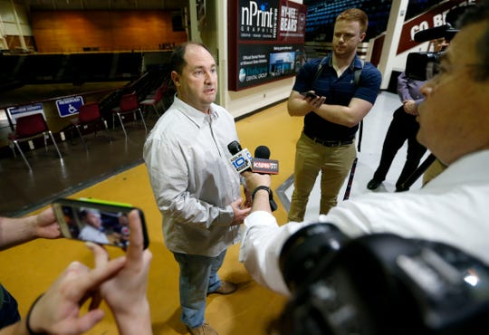 Missouri State University Athletic Director Kyle Moats talks to the media about the cancellation of the NCAA basketball tournament and other athletics due to the coronavirus pandemic on Thursday, March 12, 2020.