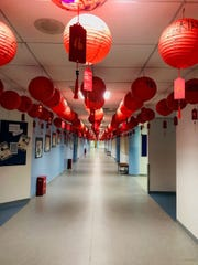 The hallways at Shanghai American School in China, shown Jan. 22, 2020, are decorated for the Chinese New Year.