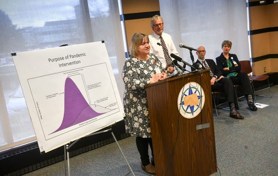 Stearns County Human Services Public Health Division director Renee Frauendienst speaks during a press conference on the first COVID-19 case confirmed in Stearns County Thursday, March 12, 2020, in St. Cloud.