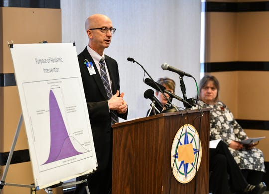 CentraCare physician George Morris speaks during a press conference on the first COVID-19 case confirmed in Stearns County Thursday, March 12, 2020, in St. Cloud.