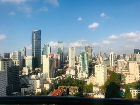 The view from Eric Motzko's apartment in the French Concession area of Shanghai, China, is pictured in October 2019.