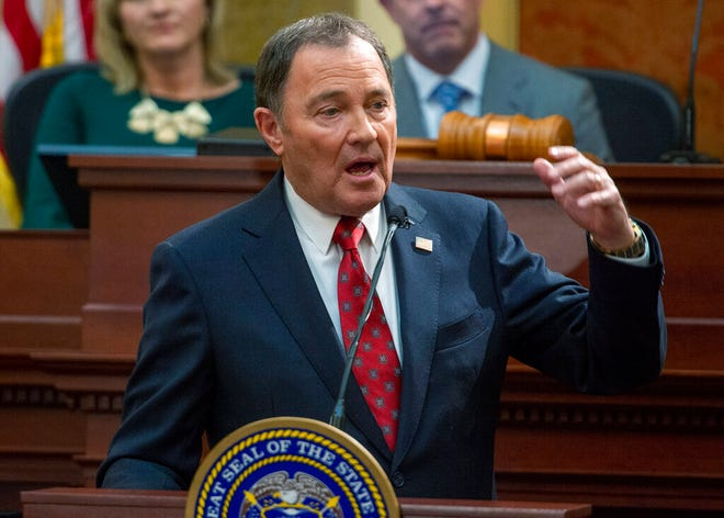 Utah Gov. Gary Herbert delivers his 11th and final State of the State address in the Utah House Chambers, at the Utah Sate Capitol, Wednesday, Jan. 29, 2020. (Rick Egan/The Salt Lake Tribune, via AP, Pool)