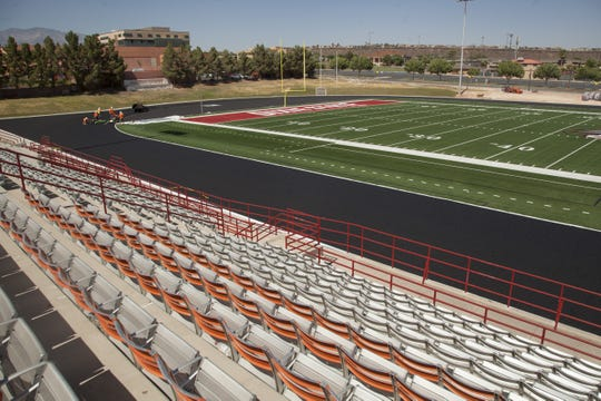 Empty seats are shown in this file photograph of Trailblazers Stadium at Dixie State University. The NCAA announced Thursday it was canceling postseason tournaments and athletics officials were worried about the near-term future of all sports at colleges across Utah.