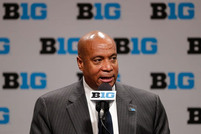 Big Ten commissioner Kevin Warren addresses the media in Indianapolis, Thursday, March 12, 2020, after it was announced that the remainder of the Big Ten Conference men's basketball tournament will be cancelled. (AP Photo/Michael Conroy)