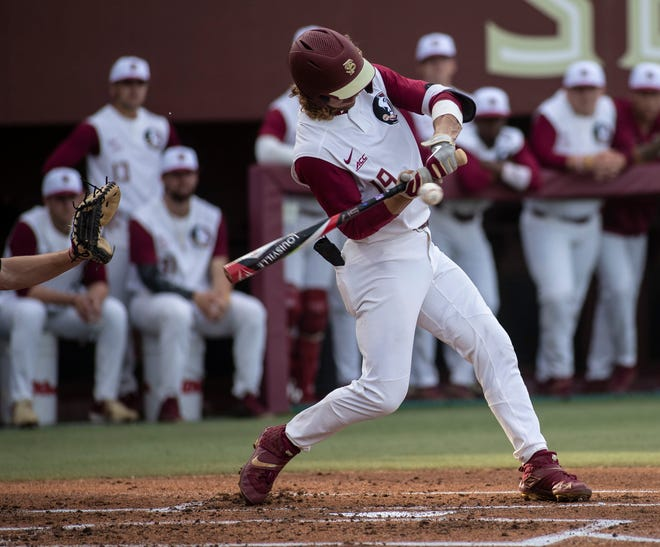 Florida State Seminoles outfielder Elijah Cabell (19) swings at the pitch. The Florida State Seminoles hosted the Illinois State Redbirds, Wednesday, March 11, 2020.