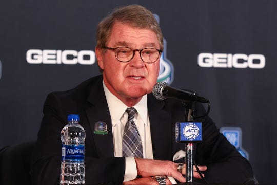 Mar 12, 2020; Greensboro, North Carolina, USA: ACC commissioner John Swofford speaks to the media prior to the start of the quarterfinals of the ACC Tournament at Greensboro Coliseum. Mandatory Credit: Jeremy Brevard-USA TODAY Sports