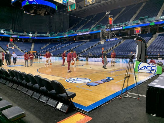 Members of the Florida State men's basketball team warm-up before their scheduled ACC Tournament Game in Greensboro, North Carolina, on Thursday, March 12, 2020. The game was canceled before it started.