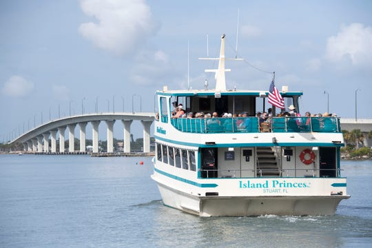 The Island Princess Cruise boat sails from the Mariott Hutchinson Island Marina on a voyage down the St. Lucie River on Thursday, March 12, 2020, in Stuart. As the Centers for Disease Control and Prevention encourages Americans to avoid major cruise lines to prevent the spread of novel coronavirus, local small-scale river cruises are losing business.