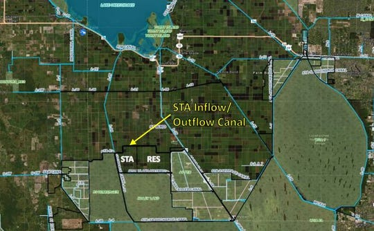Map showing the site of the Everglades Agricultural Area Reservoir Project.