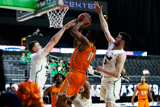 UTEP's Bryson Williams attempts to score in the final second of the game against Marshall Wednesday, March 11, at C-USA in Frisco.