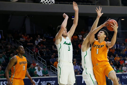 UTEP's Tydus Verhoeven takes a shot against Marshall Wednesday, March 11, at C-USA in Frisco.