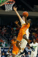 UTEP's Souley Boum takes a shot against Marshall during the game Wednesday, March 11, at C-USA in Frisco.