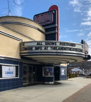 Landis Theater marquee announces future shows postponed. March 12, 2020