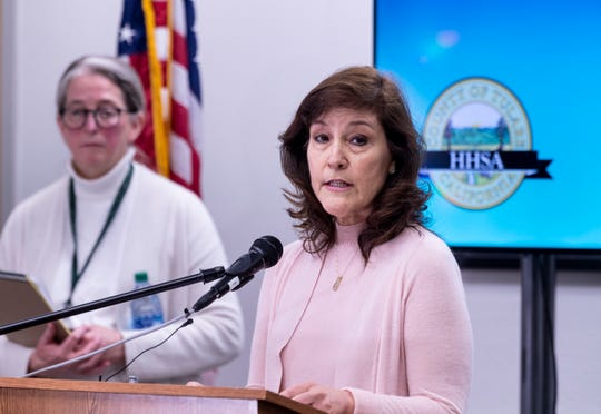Karen Elliott talks about the first positive test in Tulare County for COVID-19, the disease caused by the novel coronavirus, during a press conference on Thursday, March 12, 2020. Elliott is the Tulare County Health & Human Services Agency Public Health Director.
