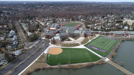 "New Rochelle High School, part of the ""circle of containment"" in New Rochelle because of the COVID-19 coronavirus March 11, 2020."