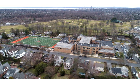 """Tuckahoe High School, part of the """"circle of containment"""" in New Rochelle because of the COVID-19 coronavirus March 11, 2020."""