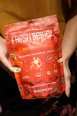 Fresh Bellies, a baby food company focusing on ingredients like herbs and spices, and savory foods, sold at Balducci's in Scarsdale March 12, 2020.The Scarsdale resident's products are now sold nationwide at stores like Whole Foods and Walmart.