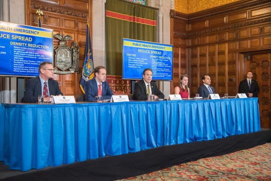 Gov. Andrew Cuomo and members of his administration deliver a coronavirus update during a new conference at the state Capitol in Albany; March 13, 2020.