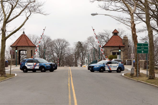 Westchester County Police block the entrance to Glen Island Park in New Rochelle, NY, while preparations are underway to transform the space to a coronavirus testing area March 12, 2020.