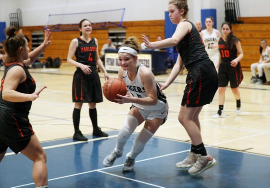Putnam Valley defeated Marlboro 66-49 in girls basketball regional playoff action at Putnam Valley High School March 11, 2020.