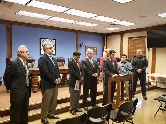 Yorktown Town Supervisor Matt Slater, at the podium, held a news conference with superintendents of the Yorktown and Lakeland Central schools districts, some town council members, the police chief and others about efforts to prevent the coronavirus.