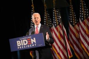 Joe Biden addresses the media on the coronavirus (COVID-19) at the Hotel DuPont, in Wilmington, De., on Thursday afternoon.