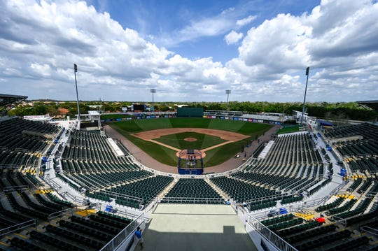 The Twins' park in Fort Myers, Fla. sits empty after the league announced the cancellation of spring training games.