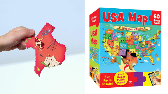A map puzzle keeps them busy—and teaches basic geography.
