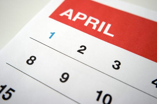 Calendar of the month of April.