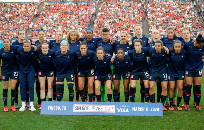 The United States Women's National Team poses for a team photo before a SheBelieves Cup women's soccer match against Japan.