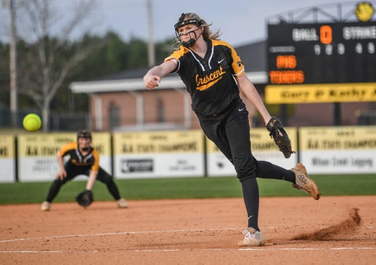 Crescent freshman Courtney Baldwin(28) pitches against Palmetto High School during the top of the first inning at Crescent High School in Iva Thursday, March 12, 2020.