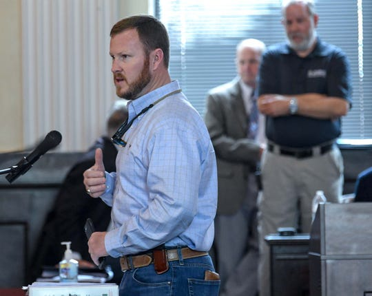 Anderson County Sheriff Chad McBride, speaks in the county council chambers Friday, March 13, 2020. Nearly 100 officials from county administration, schools, churches, AnMed, and service agencies heard about plans for handling COVID-19.