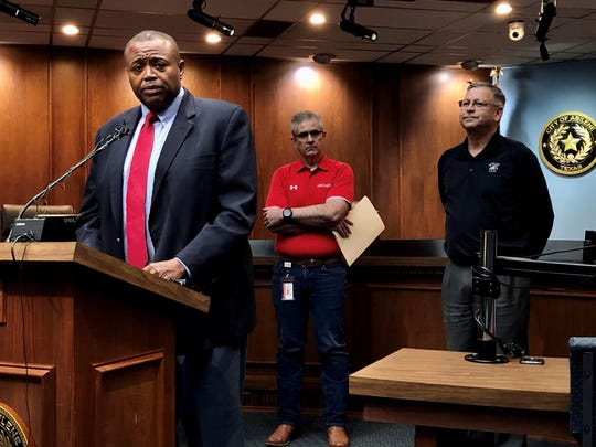 Mayor Anthony Williams, left, speaks about how the city of Abilene is dealing with the coronavirus pandemic declared this week by President Trump. Representing the Abilene and Wylie school districts were David Young, center, and Joey Light. It was announced both districts will suspend classes Monday-Wednesday, resuming Thursday, at this point. March 13 2020