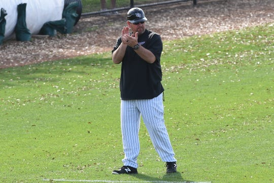 Hardin-Simmons coach Steve Coleman claps after a base hit against Schreiner at Hunter Field on Tuesday, March 10, 2020. The Cowboys won 13-10.