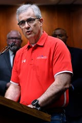 David Young, superintendent for the Abilene Independent School District, announces during a joint press conference at City Hall Friday that students would stay out of school an extra three days next week in response to Coronavirus concerns.
