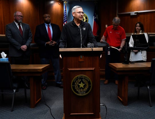 Wylie Independent School District Superintendent Joey Light outlines his district's plans for extending spring break three days during Friday's press conference at Abilene City Hall.