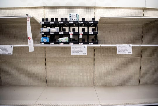 Target on Beckley Rd. in Battle Creek, Mich. limits quantities per sale of select products as Calhoun County residents respond to COVID-19 on Friday, March 13, 2020.