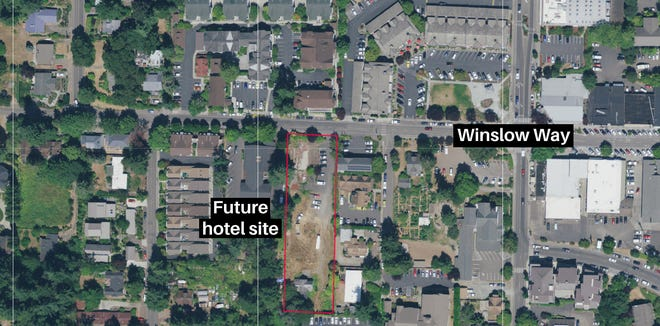 A view of the future hotel site on Winslow Way.