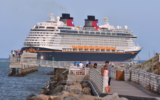 The Disney Dream leaves on a cruise from Port Canaveral in March, just prior to the suspension of cruises because of the coronavirus pandemic.