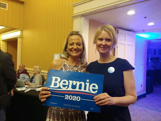 Ashley Prescott, left, stands with actress Cynthia Nixon during the Brevard Democratic Party's Big Blue Bash in 2020.